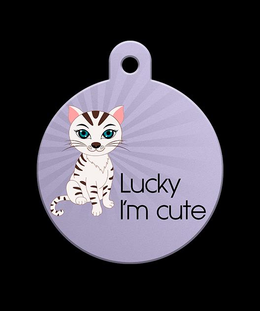 Lucky I'm Cute Pet Dandy Pet Tag - Cat Tag - Pet Dandy